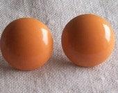 Retro 1970s Vintage Orange Enameled Metal Round Button Pierced Earrings Chunky Mod Chic Destash - AnotherWomansTreasur