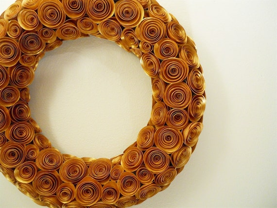 Hand Painted Gold Paper Rose Wreath
