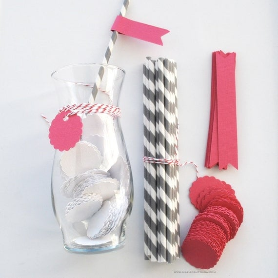 DIY Party Set Paper Drink Straws with Flags (Set of 12) ,CIJ