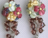 "Lampwork Earrings, Handmade Glass Beads, ""Dazzling Dangles-Pink"""