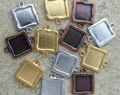 Simple Square- Link Frame -12 Pieces Assortment- Silver- Gold- Copper Plated- Charms-Buy 10 get 2 Free