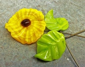 Yellow  Lampwork Flower with 2 leaf set-SRA