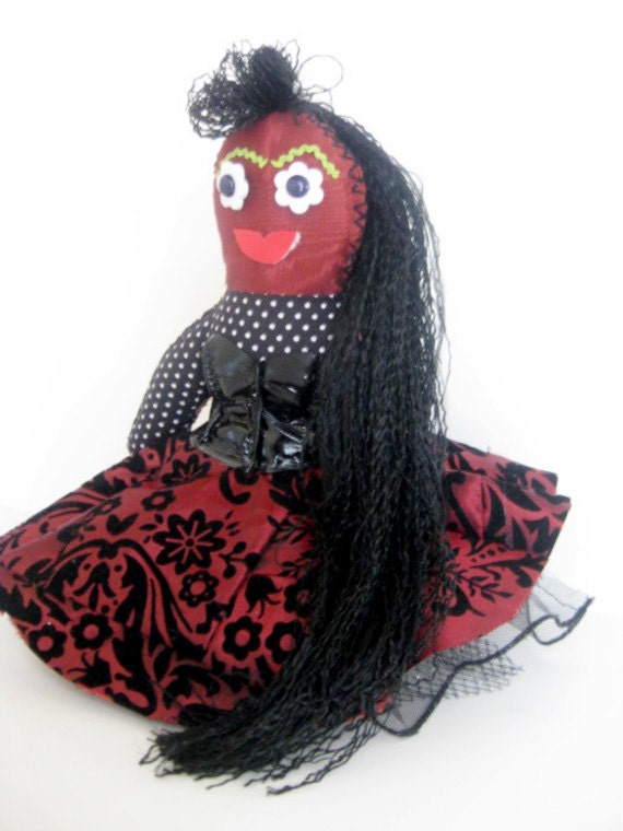 Rockabilly Voodoo Doll with Corset Black and Red Circle Skirt and Flower Eyes