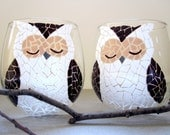 2 Mosaic Owls- Painted Wine Glasses - SwirlyGarden