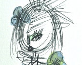 Ellie with Striped Dress and 3 Flowers ACEO Original watercolor/ink on archival paper/ Blue, Green and Black - oneeyedgirls