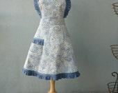 Full Apron - Vintage Style Apron with Swirl Skirt in Gray Blue Batik with Denim Ruffle Trim - Ready to Ship - CLKconcepts