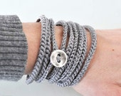 Crochet Bracelet and Necklace in one piece. Silver .