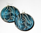 Large Handpainted Circular Modern Line and Dot Inspired Earrings In Turquoise, Black and Metallic Silver