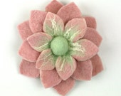 Felt Flower Pin/Brooch - Pale Pink and Mint Green - ZMFelt