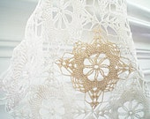 Vintage  Lace Doily  Cottage Chic Natural Ecru Cotton