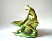 Zsolnay Porcelain Figurine,  Organic Nude Art Bowl Eosin Glaze