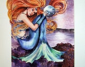 GREAT DEAL NIght Mermaid waterolor print with handpainted details, signed and matted - baylesdesign