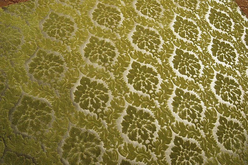 flocked foiled moss green damask wallpaper by
