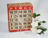 20 Red Bingo Cards on cardboard - flattirevintage