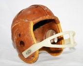 Old Leather Football Helmet - flattirevintage