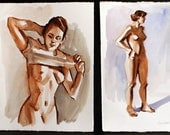 "Nudes, a folio of two watercolors on Rives BFK each 10""x8""and 6""x10"" by Kenney Mencher"