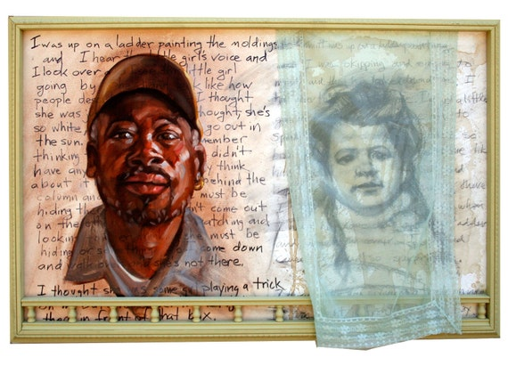 """Columbarium, 30""""x40"""" oilpaint, watercolor, graphite, coffee stains and  ephemera half inch panel in in handmade framed by Kenney Mencher"""