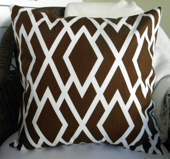 NEW - Designer Decorative Throw Pillow Cover - Lattice Print - Chocolate Brown and  Ivory - 18 Inches Square