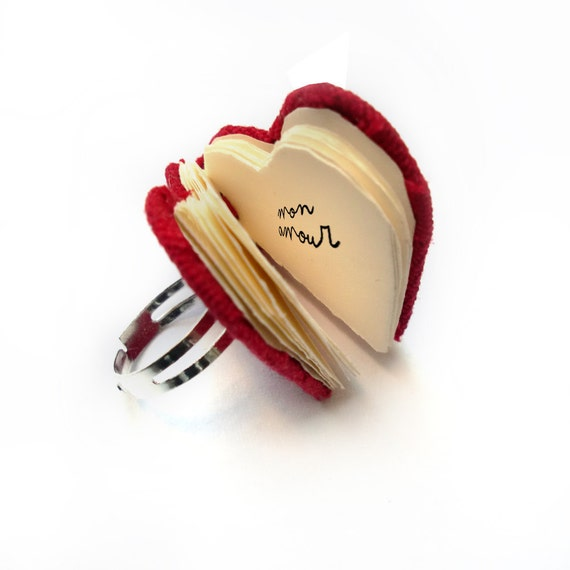 SALE - Mini Book Heart Ring - Valentine Gift - mini handbound book - fabric cover and drawing paper pages- adjustable ring