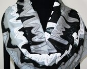Hand Painted Silk Scarf City Rhythm. Silk Scarf in Black, White and Silver Gray. Size 14x70. Made in Colorado. 100% silk. Made to order. - SilkScarvesColorado