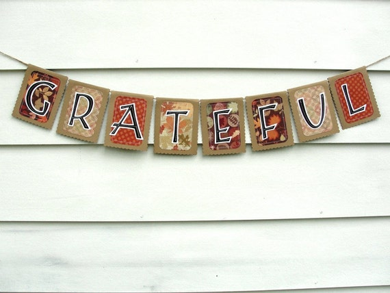 Thanksgiving Decoration Banner, GRATEFUL, Rustic Kraft