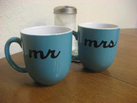Blue Mr & Mrs Hand Painted Coffee Mugs - Ready to Ship