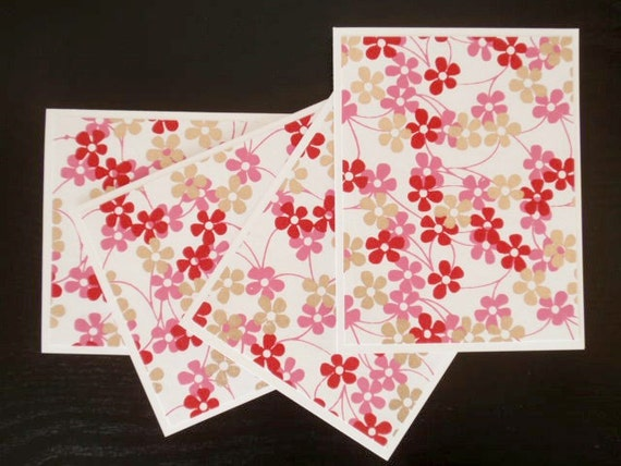 cherry, fuchsia and gold blossom notecards - set of four