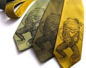 Mens Gift - Pretentious Frog Mens Necktie - Screen Printed Microfiber Tie