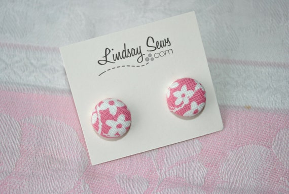 Pink Floral Fabric Covered Button Earrings for Adoption Fundraiser