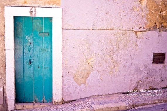 Door Photography - Travel Photography - The Number One 8x12 Original Fine Art Photograph - turquoise wooden door number one