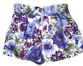 White and purple florl print Women shorts with front zipper, Free shipping - SharonBoazFashion