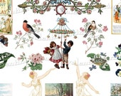 Joyful May Day Digital Collage Sheet Welcome Spring with Maypole Dancing Flowers Birds Children - ValentineGrimm