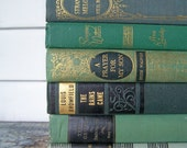 Vintage 6 Book Bundle Instant Collection Novels Old Green Books  1930s 40s - vintagemaryann
