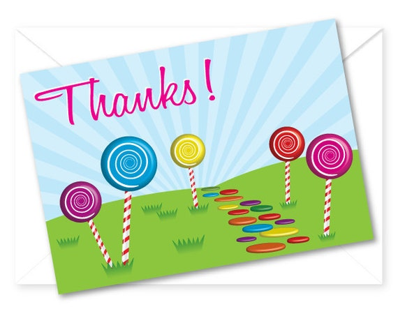 Candy Land Birthday Party Thank You Card