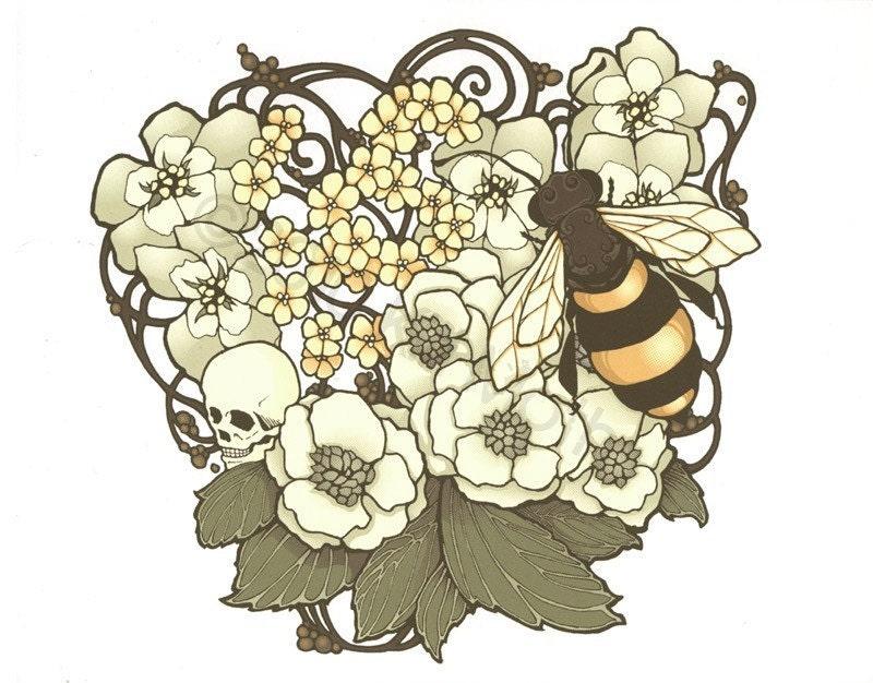Art Nouveau Flower Tattoo: Art Nouveau Flowers And Bee