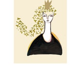 Golden Crown olympic gold Happy Art - birthday gift - Queen for a day Art print giclee - LouisestArt