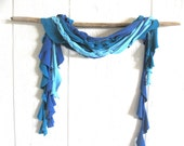 Eco Friendly. Upcycled T-Shirt. The Perfect Wave. Teal. Blue. Ocean. Skinny Scarf Set. FREE Shipping