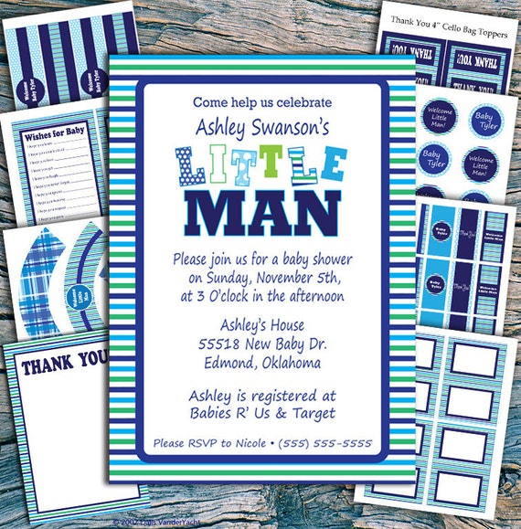 Little Man Baby Shower Invitation and Party Set - Printable Party Set