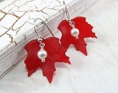 Canada Day Red Maple Leaf White Pearl Silver Earrings - beadedembellishments