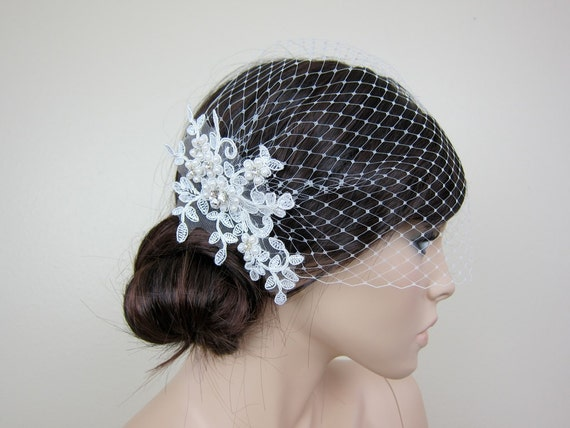 Wedding Veil - Ivory blusher birdcage veil with alencon lace