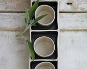 divided porcelain tray with 4 little cups - lauriegceramics
