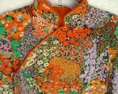 Vintage Cheongsam Kimono Orange Silk Floral Padded - OurModernHistory