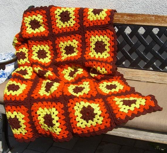 Vintage Afghan Orange and Brown Crochet Throw