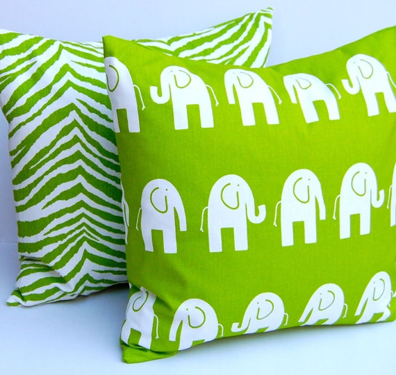 Pillow Decorative Pillows Kids Room Children Pillow Bright Green Animal Pillow Covers Nursery Decor 20 x 20 Inches Elephant and Zebra Prints