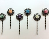 Antique Brass Filigree Daisy Hairpins - you choose 2 - katiecrafts