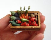 Crate of Vegetables - Dollhouse Miniature one inch scale - vesperminiatures