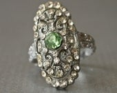 Art Deco Silver Rhodium plate rhinestone ring with Peridot Color Center size 5.75-6 - prettyinprague
