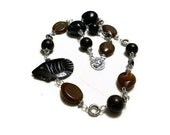 Black Brown African Tribal Fish Necklace,  Ecofriendly Vintage Recycled Beads - JustAspire