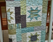 Cottage Chic Handmade Lap Quilt in Spa Colors - ColoradoQuilts