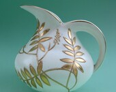 Vintage 30s Art Deco Gold Fern Leaf Pottery Bewley Ware Pitcher Jug - Cream w/ Gilt Enamel Foliage Nature Forest Classical Round Elegant - aquamarinedream